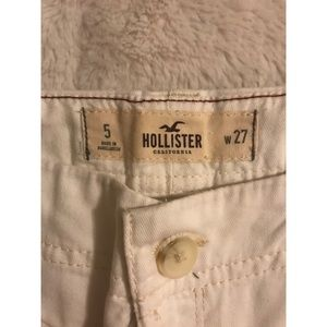 Hollister White Denim Shorts with Cuffed Bottoms